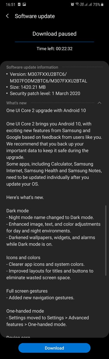 Galaxy M30s Android 10 update