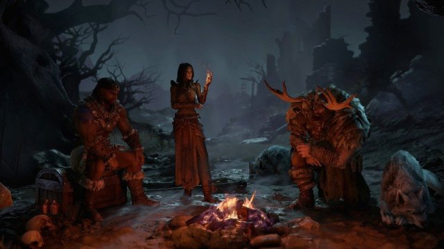 The Barbarian, Sorceress and Druid in Diablo IV