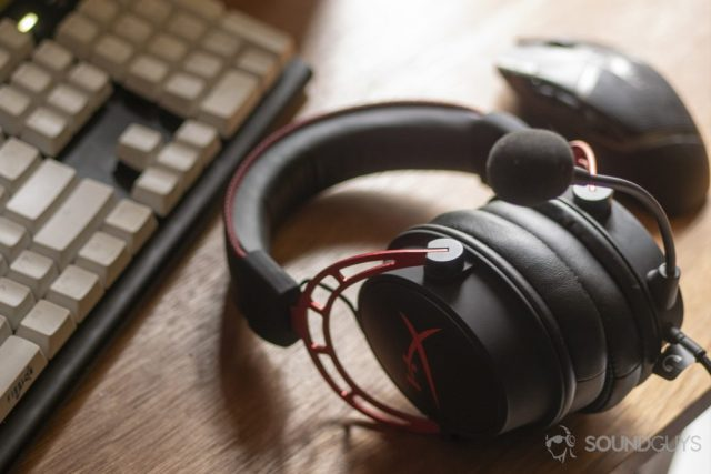 A photo of the HyperX Cloud Alpha on a desk, flanked by a gaming mouse and mechanical keyboard - How to connect a gaming headset to your PC