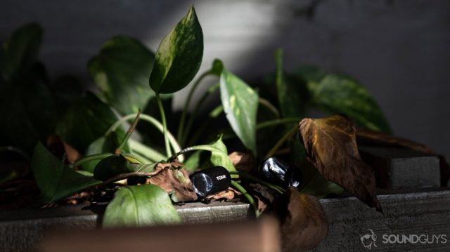 A photo of the LG Tone Free HBS FL7 true wireless earbuds on a plant holder.
