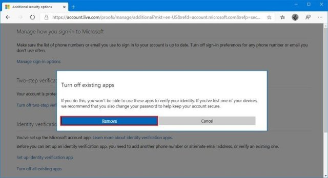 Microsoft account remove two-step verification button