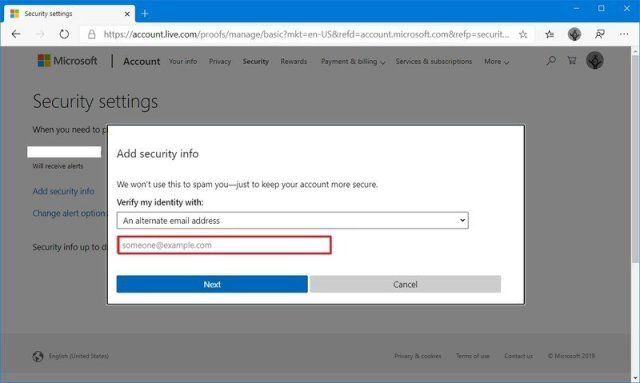 Microsoft account add email to security info