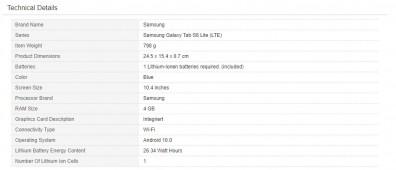 Samsung Galaxy Tab S6 Lite (LTE) specs by Amazon Germany