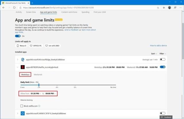 Windows 10 kid account app limit settings online