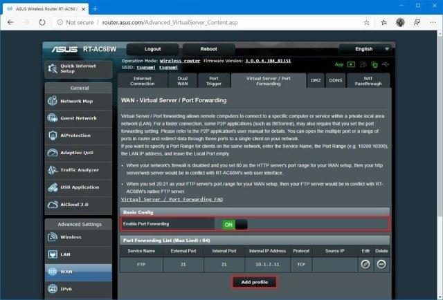 Router enable port forwarding