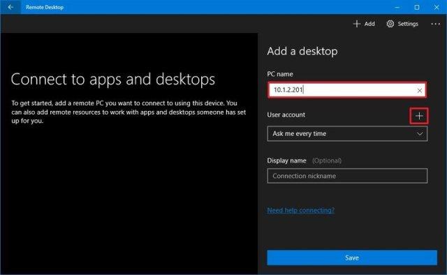 Windows 10 remote desktop configuration