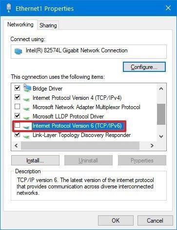 Windows 10 disable IPv6 protocol