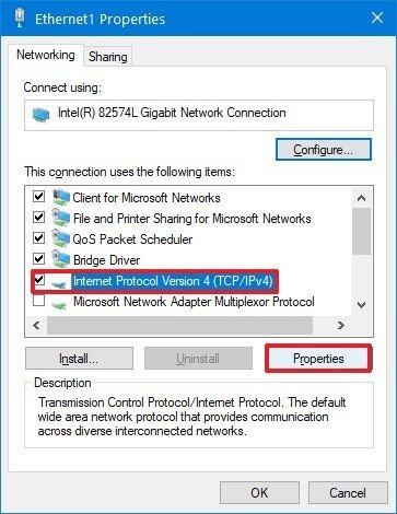 Network adapter IPv4 properties option