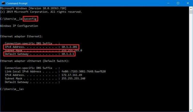 Windows 10 ipconfig command
