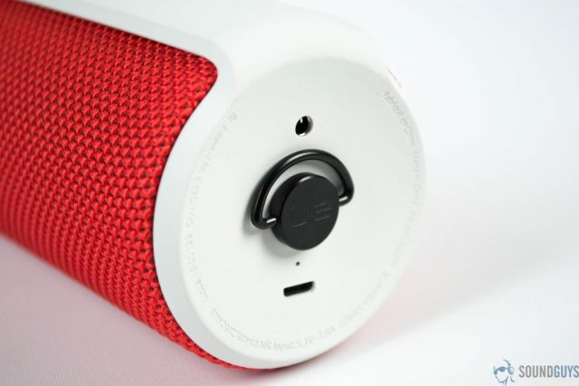 Close-up shot of the bottom of the speaker including the micro-USB input and 3.5mm input.