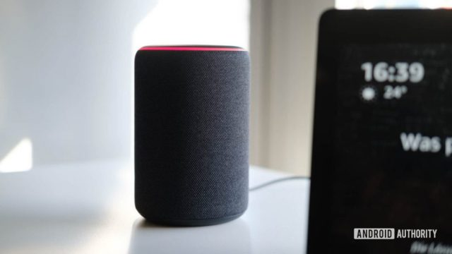 A picture of an Amazon Echo (second-gen) on a white surface.
