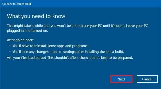 Roll back Windows 10 warning