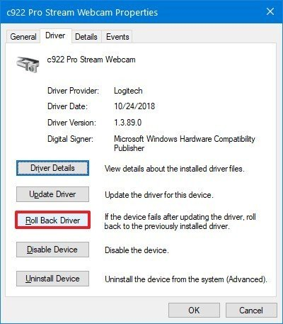 Roll backup camera driver option