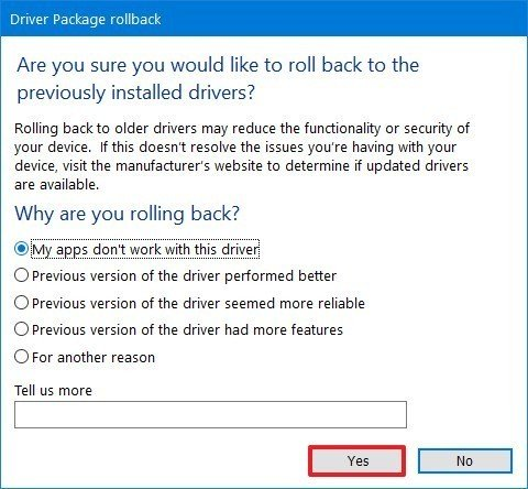 Select reason to rollback driver on Windows 10
