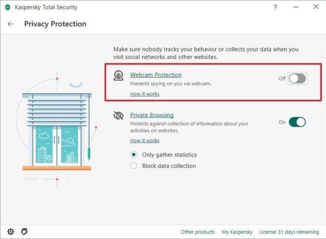 Antivirus unlock camera access option