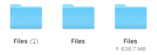iCloud Files with different upload or local icons