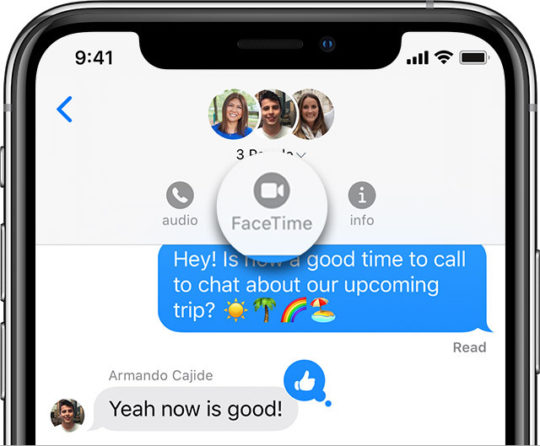 FaceTime button from Messages group chat