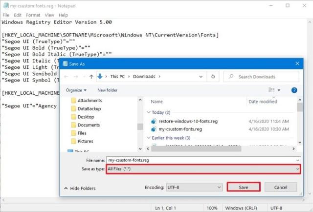 Change System Font registry file on Windows 10