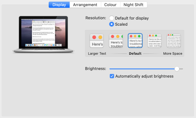 System Preferences display resolution settings