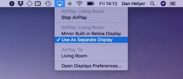 AirPlay menu bar settings from MacBook screen