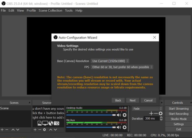 Obs Stream Settings
