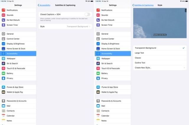 iPad Accessibility-Subtitles