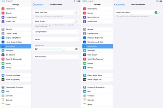 iPad Accessibility-Spoken Audio