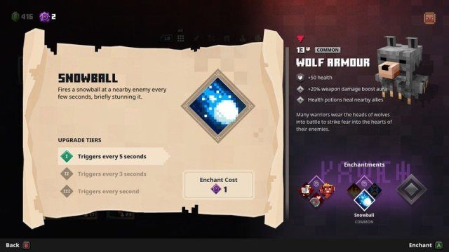 Minecraft Dungeons Wolf Armor Skills