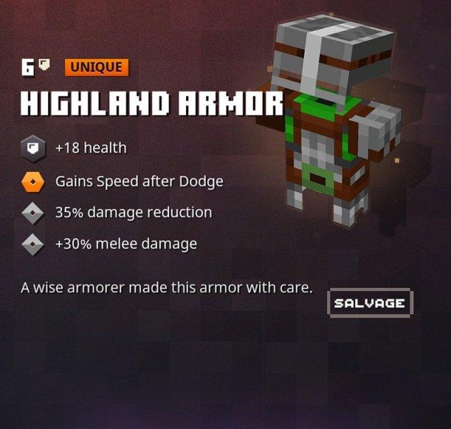 Minecraft Dungeons Highland Armor