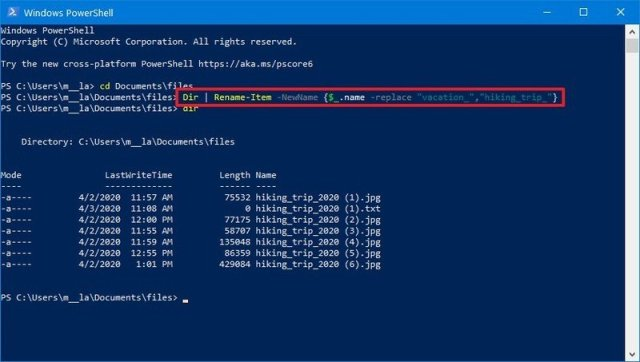 PowerShell replace part of the name command