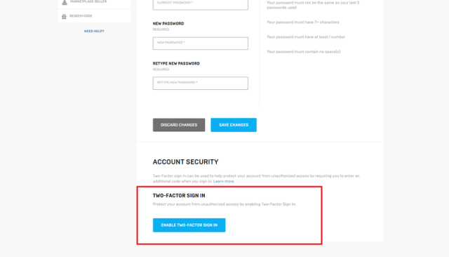 Epic Account security