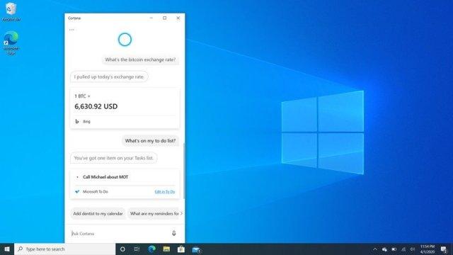 Windows 10 2004 Cortana