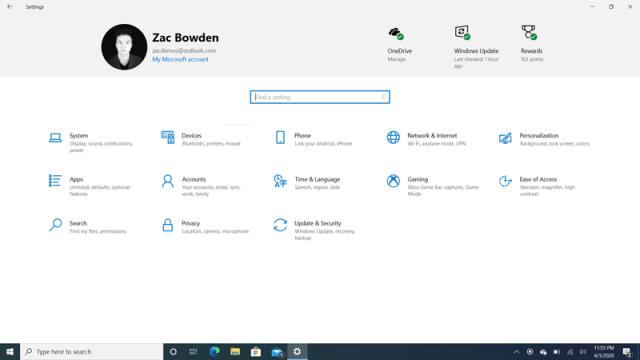 Windows 10 2004 Settings