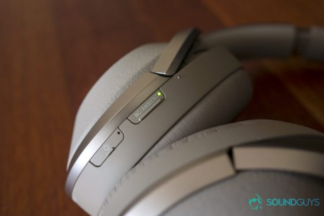 A photo of the Sony WH-1000MXM2's power and active noise canceling buttons on the left ear cup.