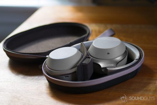 A photo of the Sony WH-1000XM2 Bluetooth headphones folded into its carrying case.