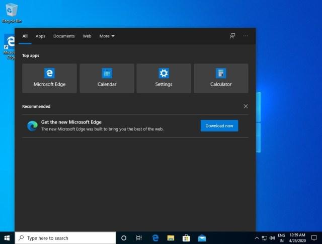 Windows 10 et la recherche, une bannière publicitaire fait son apparition