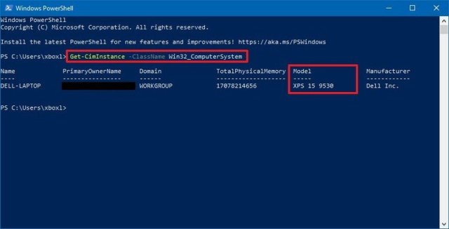 PowerShell PC model number