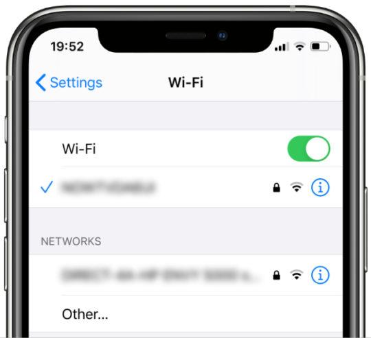 iPhone 11 Pro Wi-Fi settings