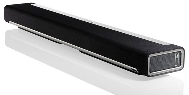The Sonos Playbar pictured at an angle.