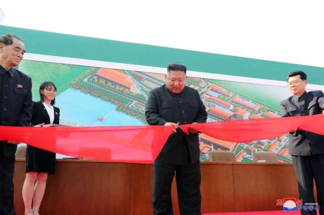 « Le dirigeant suprême Kim Jong-un coupe le ruban pour l'inauguration de l'usine d'engrais phosphatés de Sunchon », indique, samedi 2mai, une dépêche de KCNA.