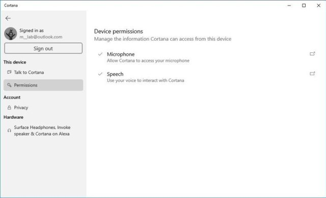 Permissions Cortana settings