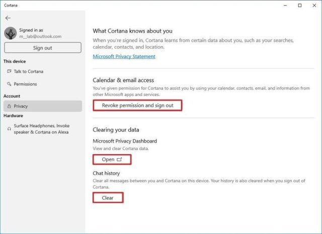 Privacy Cortana settings on Windows 10