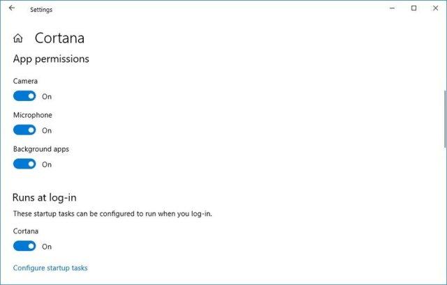 Cortana App Permissions settings