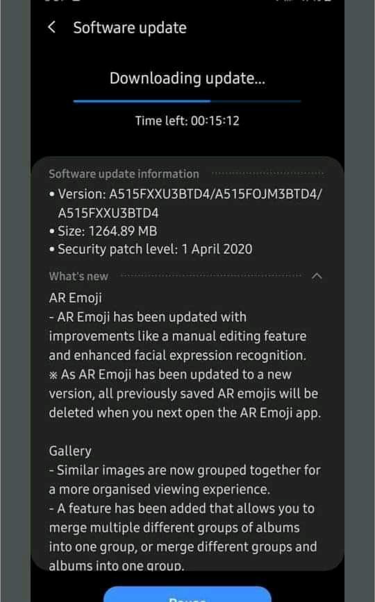 Samsung Galaxy A51 One UI 2.1 Update Changelog