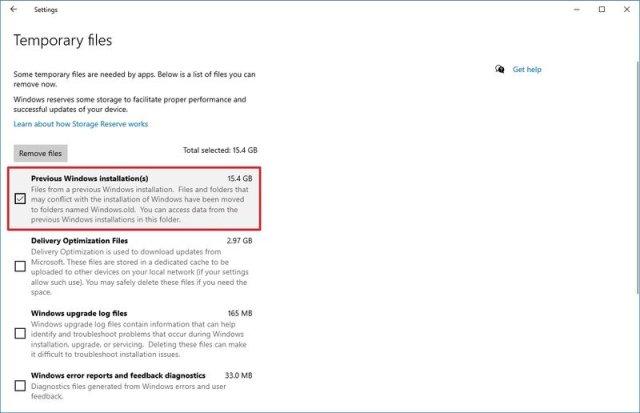 Windows 10 Temporary files delete previous installation option