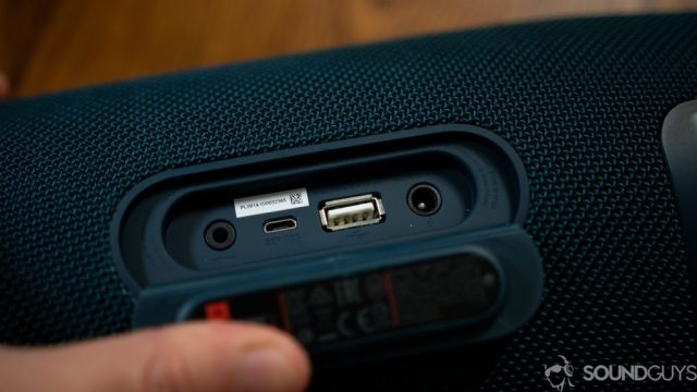 Close-up shot of the 3.5mm input, AC input, and USB output on the JBL Xtreme 2.