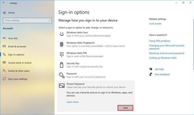 Add a picture password option on Windows 10