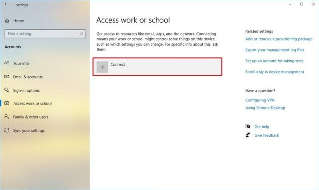 Access Work or School Settings on Windows 10