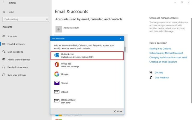 Select account provider on Windows 10