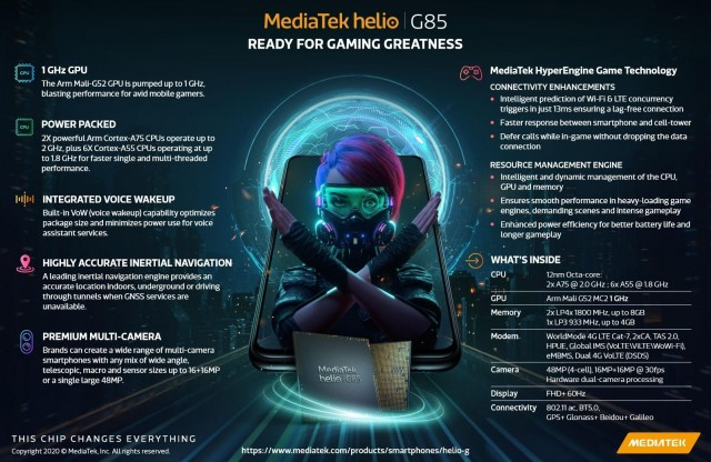 Promo image with all the neat features of the Helio G85 chipset
